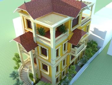 Thiết kế biệt thự đẹp đẹp 4 tầng tại Vĩnh Phúc