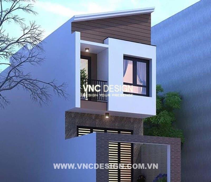 Mẫu nhà mái lệch 2 tầng hiện đại