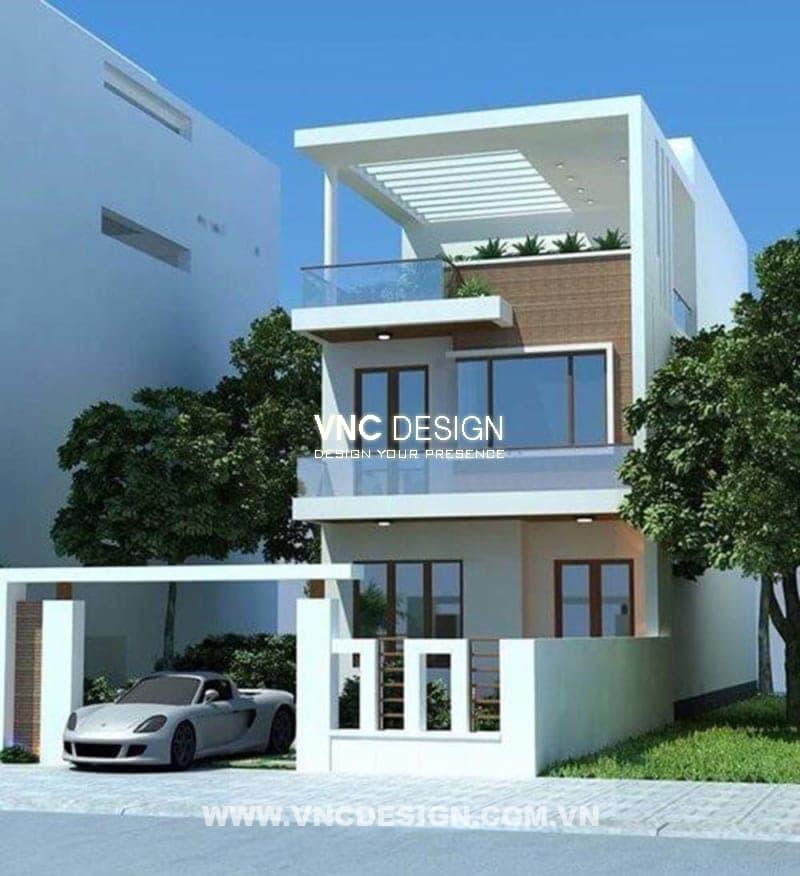 Thiết kế nhà 2 tầng 1 tum hiện đại