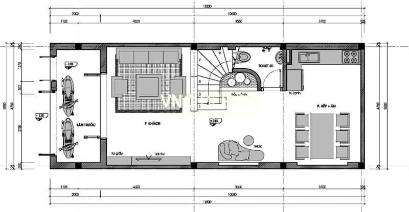 mẫu nhà phố 5x12m 3 tầng