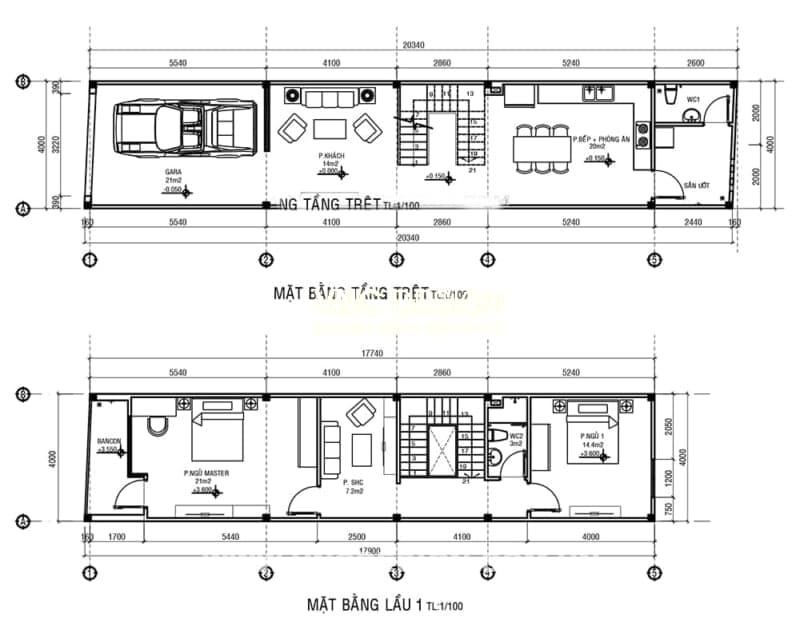 mẫu nhà phố 3 tầng 4x20