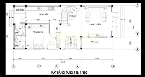 mặt bằng tầng 1 biệt thự 2 tầng 7x16m