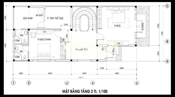 mặt bằng tầng 2 biệt thự 2 tầng 7x16m