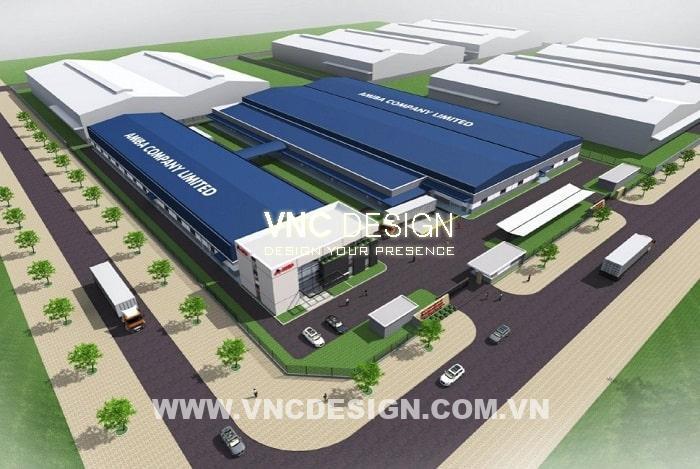 Mẫu thiết kế Nhà xưởng sản xuất bao bì AMIBA