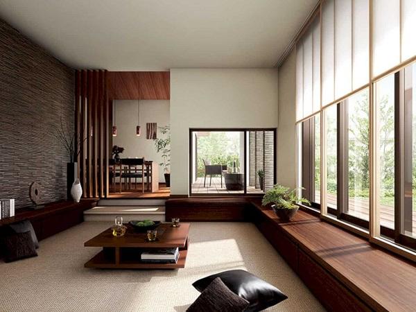Mẫu 1 Phòng khách ngồi bệt sang trọng với chất liệu gỗ