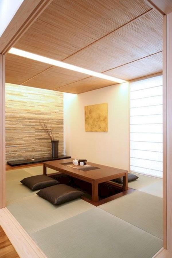 Mẫu 14 - Phòng khách ngồi bệt tối giản, hiện đại