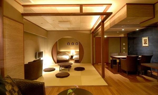 Mẫu 16 - Phòng khách ngồi bệt trong căn hộ mở