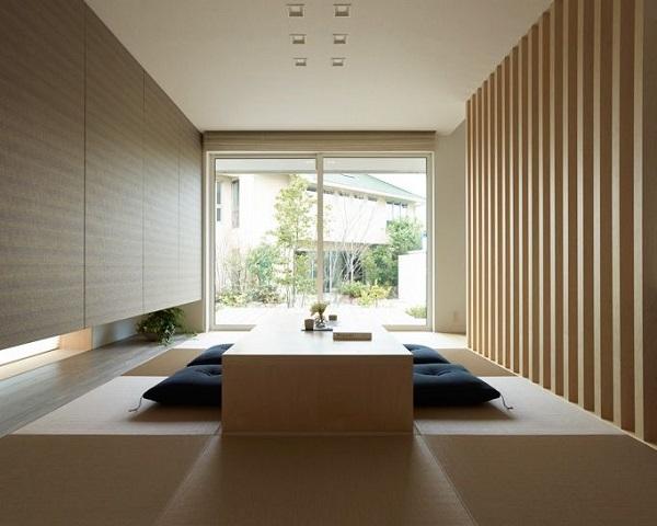 Mẫu 2 Phòng khách ngồi bệt không gian tối giản